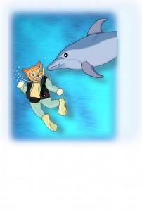 ねこのダイビングとイルカ(文字なし)