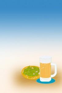 ビールと枝豆(無地)